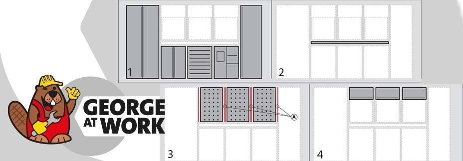 werkplaatsinrichting Montana RVS grijs met werkplaatskast 2 deuren, 5 en 9 gereedschapsladekast,, opbergkast, werkblad RVS, gereedschapswand, wandkasten met klepdeur, roldeur en 2 deuren