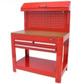 George Tools werkbank met gereedschapswand, 3 laden rood