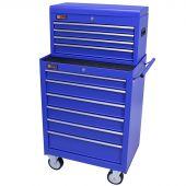 George Tools gereedschapswagen met kist 10 laden blauw