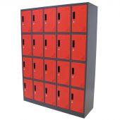 Kraftmeister lockerkast 20 deuren rood/antraciet 2de keus