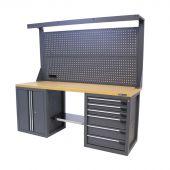 Kraftmeister werkbank met wand 6 lades 2 deuren MDF 200 cm - grijs