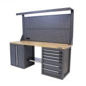 Kraftmeister werkbank met wand 6 lades 2 deuren eiken 200 cm - grijs