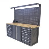 Kraftmeister werkbank met wand 12 lades 2 deuren eiken 200 cm - grijs